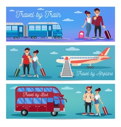 Travel banners with tourists and transportation vector