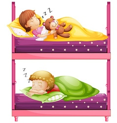 Kids sleeping in bunkbed at night vector