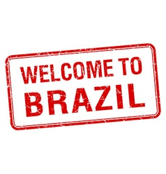 Welcome to brazil red grunge square stamp vector