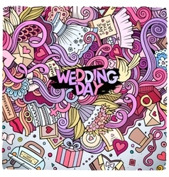 Cartoon cute doodles wedding frame vector