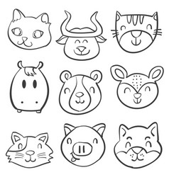 Animal head style hand draw doodles vector