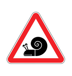 Attention snail danger red road sign slow driver vector
