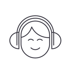 audio listeningman with headphones line vector image
