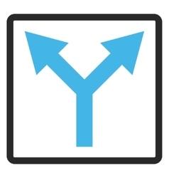 Bifurcation arrow up framed icon vector