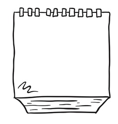 Black and white freehand drawn cartoon note pad vector