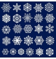 Blue Snowflakes Set Line Design vector image vector image
