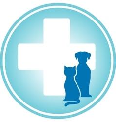blue veterinary symbol vector image