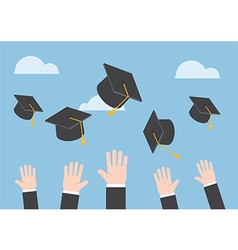 Businessman hands throwing graduation hat in the a vector image