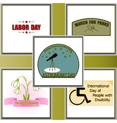 Calendar holidays set vector