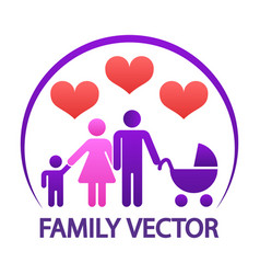 colorful happy family logo - parents with child vector image