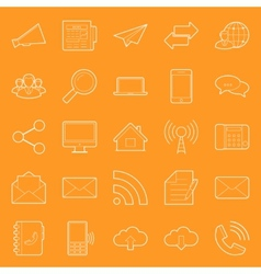 Comunication and web thin lines icons set vector