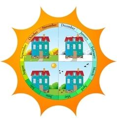 Cute template for seasons calendar vector image