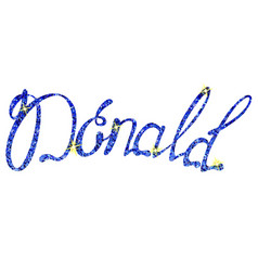 Donald name lettering tinsels vector