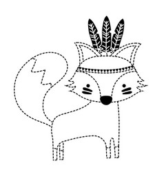 Dotted shape cute fox animal with feathers design vector