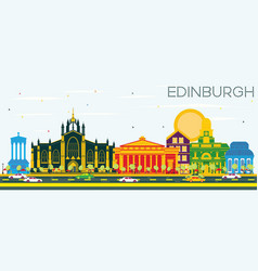 edinburgh scotland skyline with color buildings vector image vector image
