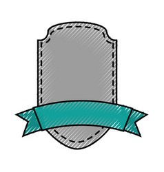 Elegant badge shield with ribbon icon vector