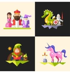 Fairy tales flat design magic cartoon characters vector