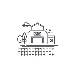 farm barn line icon with germinating field outline vector image vector image