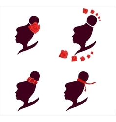 female silhouette logo set vector image