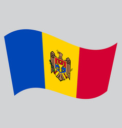 flag of moldova waving on gray background vector image vector image