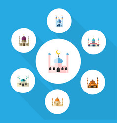 Flat icon minaret set of architecture religion vector