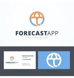 Forecast application logo and business card vector image vector image