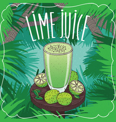 fresh lime juice in glass with ripe fruits vector image vector image