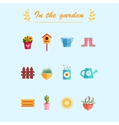 Garden flat icons blue background vector image vector image