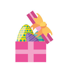gift box with easter eggs vector image vector image