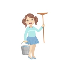 Girl holding the mop and water bucket vector