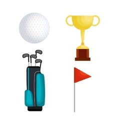 Golf sport set icons vector