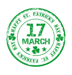 green grunge rubber stamp for st patricks day vector image