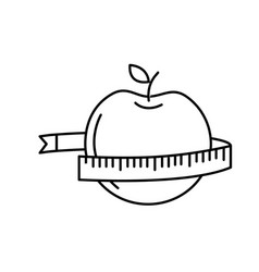 Line delicious apple fruit with tap measuring vector