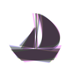 Sail boat sign colorful icon shaked with vector