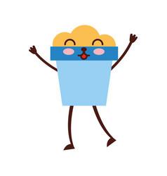 sand bucket beach toy kawaii character vector image