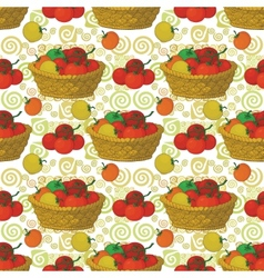 Seamless pattern baskets and tomatoes vector