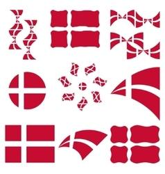Set of appearances of denmark flag vector