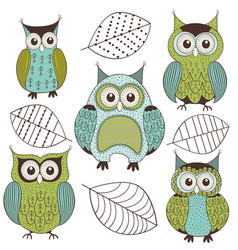 set of isolated cute color owls vector image vector image