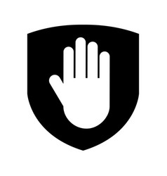 Shield insurance with hand stop isolated icon vector