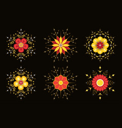sparkling abstract flowers vector image vector image
