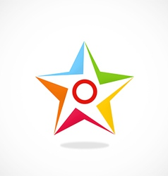 star shape color logo vector image