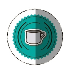 Sticker color round frame with porcelain mug vector