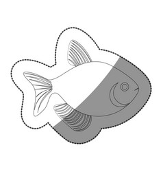 Sticker silhouette fish aquatic animal icon flat vector