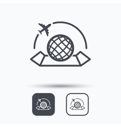 World map icon Plane travel sign vector image vector image