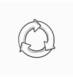 Arrows circle sketch icon vector