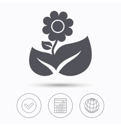 Flower icon florist plant with leaf sign vector