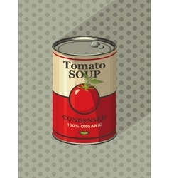 tin can with label tomato soup vector image