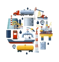 Oil industry round composition vector