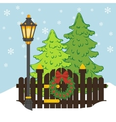 Christmas tree and street light vector