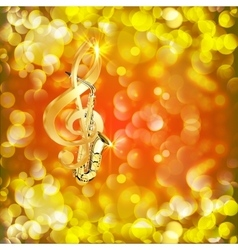 treble clef and a saxophone against bright vector image